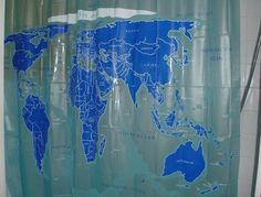 World Map Shower Curtain! Learn All Your Countries During All The Time You  Spend In
