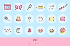 A cute cake and baking-themed branding package with logo, mascot, icons, patterns, letterhead, business cards and more!