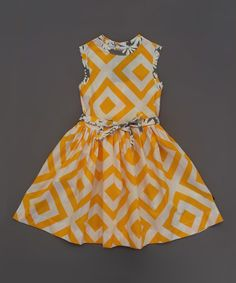 Look what I found on #zulily! Yellow & White Barceloneta Dress - Toddler & Girls #zulilyfinds