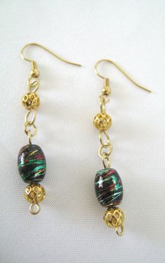 Gold Black Dangle Bead Earrings  Wire Wrapped by 2012BellaVida, $10.00