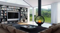 Double sided fireplace - You want to separate two rooms while enjoying a great view of the fire of the two parts? If that's the case, it's the double-sided fireplace that it would build Contemporary Building, Contemporary Office, Contemporary Bedroom, Contemporary Furniture, Contemporary Garden, Contemporary Wallpaper, Contemporary Chandelier, Contemporary Architecture, Modern Contemporary