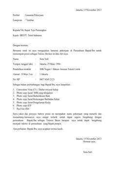 Contoh Surat Lamaran Dalam Bahasa Inggris Lulusan Smk