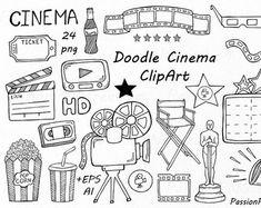 Doodle Cinema Clipart, Hand getrokken bioscoop illustraties, PNG, EPS, AI, vector, film Doodle Clipart, voor persoonlijk en commercieel gebruik