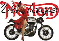Retro Norton Motor Cycle Sexy Girl design for t-shirt
