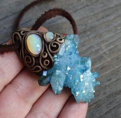 FREE SHIPPING Aqua Aura Quartz Pendant Welo Ethiopian Opal Flashy Cluster Raw Gemstone Necklace Jewellery Hippie Healing Reiki Magic