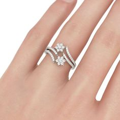 Women's CT Round Cut Diamond Flower Engagement Ring White Gold Over Silver Rings Online, Gold Rings Jewelry, Sterling Silver Rings, Jewellery, 925 Silver, Latest Gold Ring Designs, Gold Finger Rings, Bridesmaid Jewelry Sets, Fashion Rings