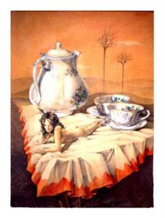 La hora del te. Lápiz color y grafito de Hugo Bastos