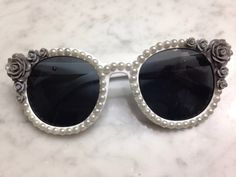 Round grey floral and pearl sunglasses by Kandishopcom on Etsy, $25.00