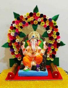 Mandir Decoration, Ganpati Decoration Design, Ganapati Decoration, Flower Decoration For Ganpati, Diwali Decorations At Home, Festival Decorations, Flower Decorations, Ganesh Chaturthi Decoration, Happy Ganesh Chaturthi Images