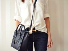 White Blouse + Denim + Hermes Belt + Celine Bag