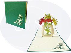 Aufklappbare POP UP Geburtstagskarte mit Lilien. Mehr entdecken auf: www.lin-popupkarten.de Pop Up Karten, Lilies, Holiday, Birth
