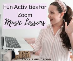 Distance learning stressing you out? Learn about some FUN Zoom music lessons that you can do tomorrow for your elementary music students. Elementary Music Lessons, Online Music Lessons, Music Lessons For Kids, Music Lesson Plans, Elementary Schools, Music Online, Piano Lessons, Preschool Music, Music Activities