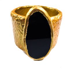 Gold and Black Agate Cuff