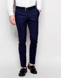 De sejeste Noose & Monkey Trousers With Stretch In Super Skinny Fit - Navy Noose & Monkey Smart Bukser til Herrer i behagelige materialer