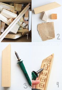 Good use of wood scraps! Make wood burned blocks into buildings for play!