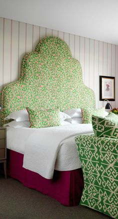 The Soho Hotel - London, United Kingdom. Cool and collected (and unexpectedly child-friendly), Londons Soho Hotel is the colourful, trendy sister of the more staid Covent Garden Hotel. Bedroom Color Schemes, Bedroom Colors, Bedroom Decor, Headboard Designs, Headboard Ideas, Headboard Shapes, Soho Hotel, Headboards For Beds, Upholstered Headboards