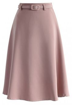 Savvy Basic Belted A-line Skirt in Pink - New Arrivals - Retro, Indie and Unique Fashion