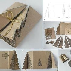 DIY Paper Cardboard Christmas Tree Greeting Card: Make a Handmade Christmas Greeting Card from free template and fold front into Christmas Tree. Homemade Christmas Cards, Christmas Greeting Cards, Simple Christmas, Christmas Greetings, Handmade Christmas, Holiday Cards, Christmas Diy, 3d Christmas Tree Card, Christmas Postcards