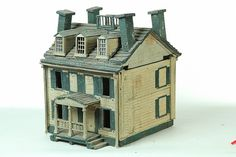 Americana...early 20th c. hand made Birdhouse [lift off roof] nice details; gable, colonnaded porch , widows walk, paneled interior doors