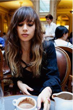 . #hair #brunette #fringe #bangs #coffee #girl #female #woman