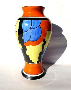 "Wedgwood Clarice Cliff Hand Painted BIZARRE ""Inverted Baluster Form"" Vase"