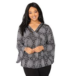 AVENUE Womens Floral Babydoll Top 2224 Black White >>> To view further for this item, visit the image link.Note:It is affiliate link to Amazon.