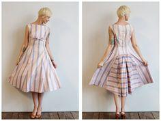 1950s Dress // Candy Stripe Dress // vintage by dethrosevintage, $126.00