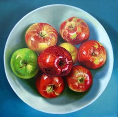 Claudia Kaufman | OIL | Bowl of Apples #OilPaintingFood #OilPaintingOleo #OilPaintingFlowers