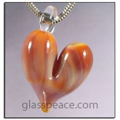 Pink Lampwork Glass Heart Pendant by Glass Peace $12.95