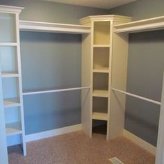 Great use of those awkward corners in the walk in closet. Double hanging rods for hanging clothes. Master walk-in closet with shelves shelving storage organization. Closet Redo, Closet Remodel, Master Bedroom Closet, Closet Storage, Bathroom Closet, Walk In Closet Organization Ideas, Diy Closet Ideas, Closet Space, Closet Shelving