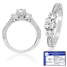 $549.99 - 1 Carat Certified Diamond 14K White Gold Round 3-Stone Ring