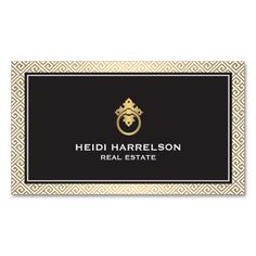 Modern business card template for realtors, real estate agents with a touch of golden glamour. Unique door knocker logo will ensure your cards stand out from the crowd. Designed by 1201AM Paper Goods.