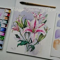 Here's a peek of our next tutorial on patreon, scheduled to launch on  Mar 10. If you're interested in watching this tutorial, please make sure to pledge on my patreon page before Mar 10 (link in profile) I'll also put the tutorial video on Etsy as well 😉 #watercolor #lily #pink #flowers #painting #paint #art #artist #patreonartist #patreon #tutorial #aquarelle