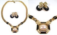 Vintage CHRISTIAN DIOR NECKLACE SET Earrings Pearl Cabachon HEAVY CD Gold-tone #Dior