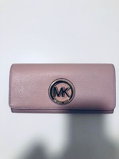 aeff3d033f3905 Michael Kors Fulton Blossom Pink Leather Gold Logo Continental Flap Wallet  New #MichaelKors #Envelope