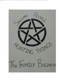 """Supernatural """"Saving People, Hunting Things, The Family Business"""" Canvas Panel by AriEagle on Etsy"""