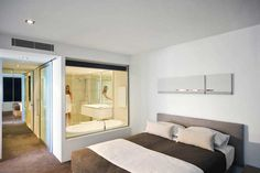 paint cabinets ensuite bathroom completley glass in within the bedroom 24227