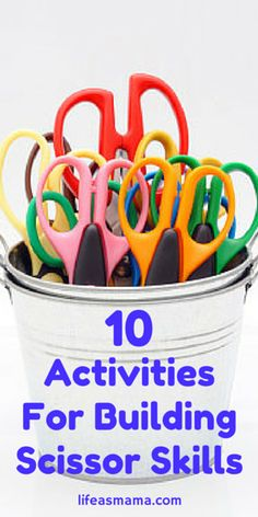 10 Activities For Building Scissor Skills Cutting Activities, Fine Motor Activities For Kids, Motor Skills Activities, Preschool Learning, Fine Motor Skills, In Kindergarten, Learning Activities, Preschool Activities, Dementia Activities