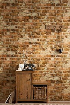 Buy Bricks Wallpaper from the Next UK online shop. (The repeat is a bit too obvious for me, but it's a pretty good looking option for faux brick. Faux Brick, Exposed Brick, Textured Brick Wallpaper, Brick Wallpaper Dining Room, Brick Wallpaper Accent Wall, Look Wallpaper, Wallpaper Ideas, Salon Wallpaper, Decoration Home