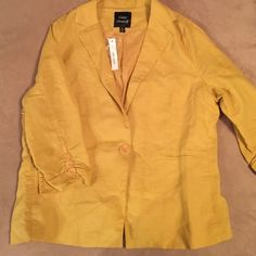 Trade? Mustard summer jacket. Linen material light cotton lining. Would fit a size 12 comfortably. It fits me but I wanted a more relaxed fit to wear with Jeans. Jackets & Coats Blazers