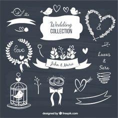 Elementos decorativos de la boda en estilo pizarra