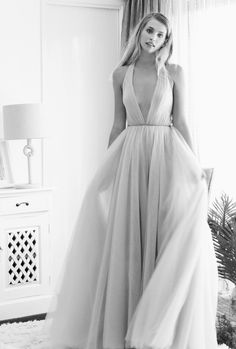 Aveline | The GC Bridal Lounge A dreamy layered tulle A-line gown with an on-trend plunging v neckline. #weddingdress #weddinggown #bohemian #boho #GCBL
