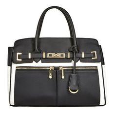 Justfab Satchels Bryson ($43) ❤ liked on Polyvore featuring bags, handbags, black, pocket purse, satchel handbags, top handle satchel, zip zip satchel and colorblock purse