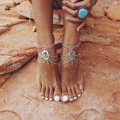 Bohemian Boho Turquoise Foot Chain l Beach Boho Wedding