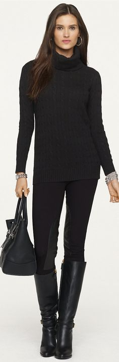 2014 RL Black Label - cable turtleneck sweater, leggings, tall boots, silver chunky jewelry | cynthia reccord