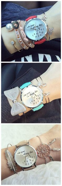 Unisex Men Women Lady Girls i'm already late Leather Strap Watches Quartz Wristwatch