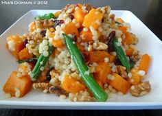 Mia's Domain | Real Food: Sweet Potato Green Beans Pearl Couscous Salad