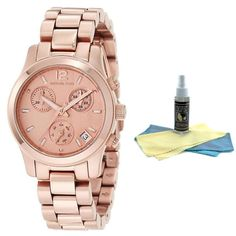 Michael Kors MK5430 Women's Rose Gold Tone Chronograph Watch with 30ml Ultimate Watch Cleaning Kit