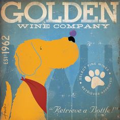 Golden Retriever Wine Company original graphic by geministudio, $39.00