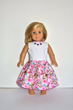 American Girl Doll Clothes  AG Doll Dress with Monkey by marlo33, $19.99